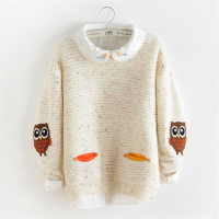 Sweet Winter Women Sweater And Pullovers Female Kniitted Thicken Embroidery Owl Loose Pullover Tops