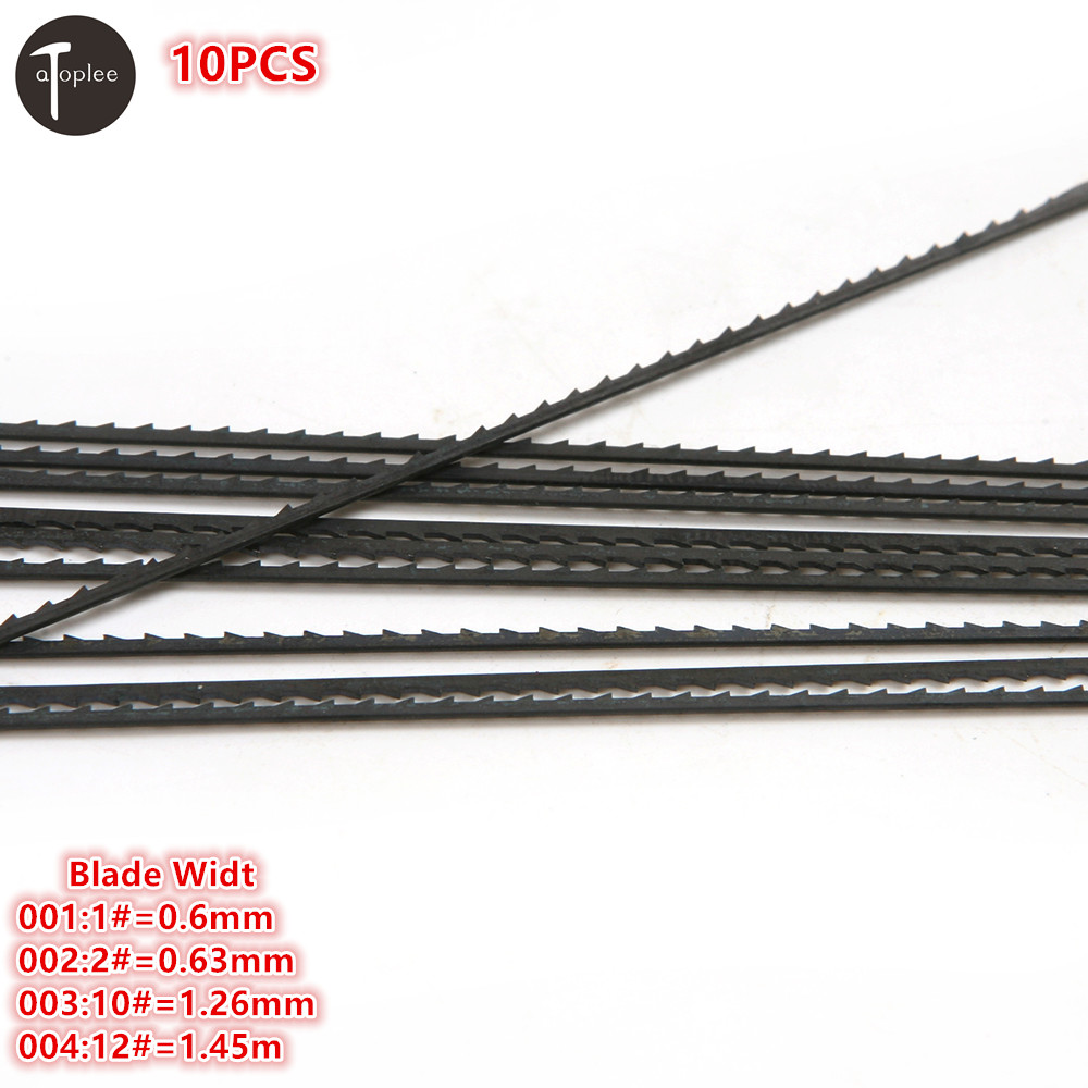 New 10PCS 1# 0.6mm,2# 0.63mm,10# 1.26mm,12# 1.45 Tooth Scroll Saw Blades Woodworking Metal Stone Saw Power Tools