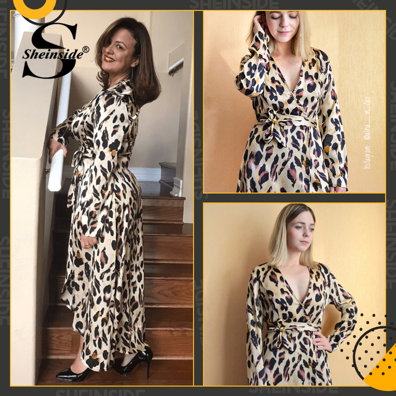 Sheinside Surplice Wrap Satin Leopard Dress Women Long Sleeve Summer Dresses Woman Party Night Ladies Deep V Neck Long Dress