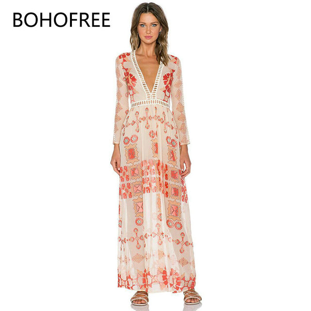 924a69264e551 US $32.84 |BOHOFREE Hollow Out Lace Patchwork Beach Dress V Neck Floral  Long Dress Femme Boho Chic Style Bohemian Vestido Mujer Summer -in Dresses  ...