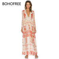 BOHOFREE Hollow Out Lace Patchwork Beach Dress V Neck Floral Long Dress Femme Boho Chic Style Bohemian Vestido Mujer Summer