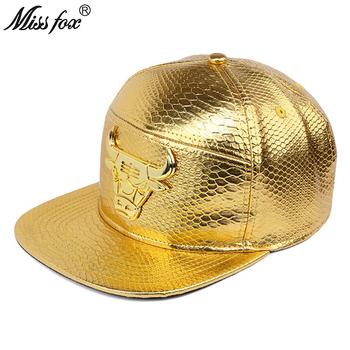 Missfox Hip Hop 18k Gold Plated głowa byka męskie kapelusze i czapki płaskim rondem krokodyla wzór Streetwear czapki czapki mężczyźni tanie i dobre opinie Hip Hop Czapki Regulowany Faux leather 548753182929 GEOMETRIC