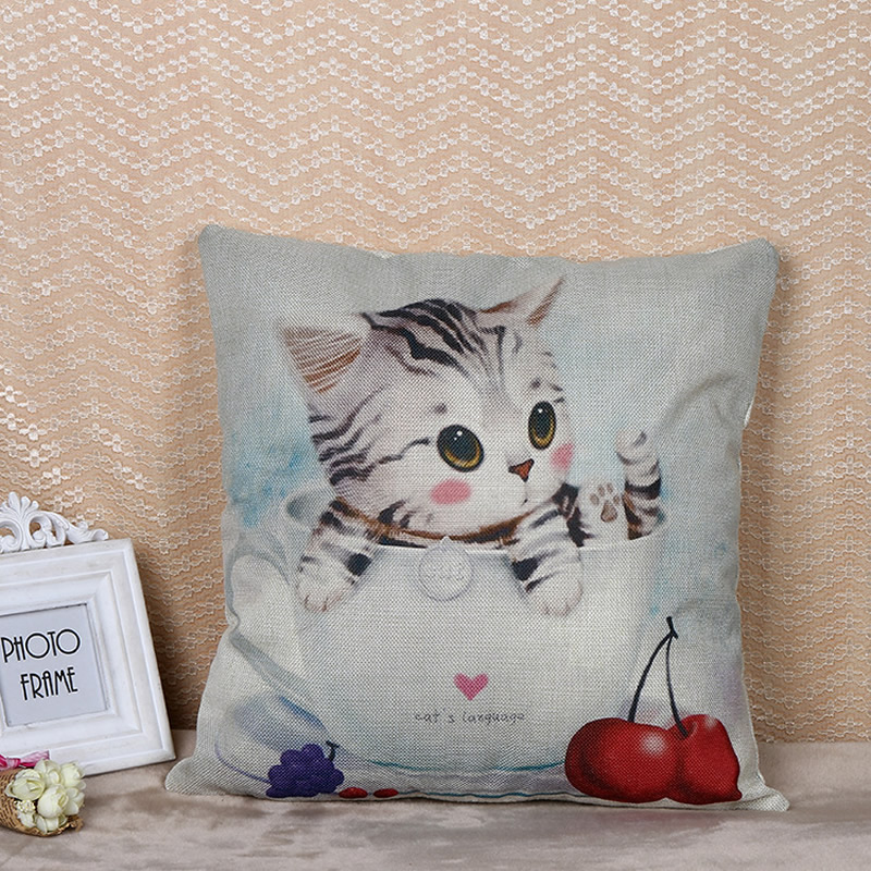 Cute Cat Flax Pillowcase Cushion Cover Square Pillowcase For Bedroom Sofa Decoration Home Decor F