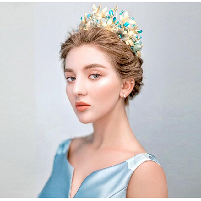 Golden Butterfly Bridal Crowns Blue Crystal Wedding Headbands Party Hair Jewelry Wedding Tiaras And Crowns Bridal Headbands