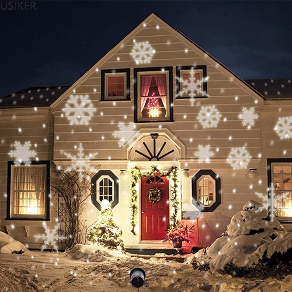Outdoor 6 LED Snowflake snow Laser Light Stage Garden Holiday Projector moving pattern Christmas Wedding Party spotlightLamp P37 newyear waterproof led snowflake laser projector lamps stage light christmas party garden home decoration outdoor
