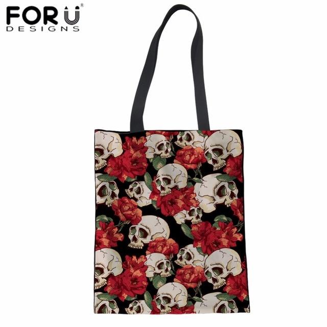 f68a22fac78d FORUDESIGNS Folding Shopping Bag Skull Flower Print Canvas Tote Bag Ladies  Supermarket Cloth Bag Teenager Girls Daily Linen Bag