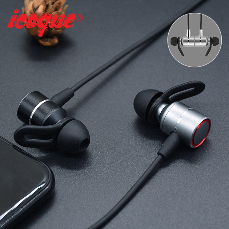 Icoque Magnetic Bluetooth Earphone Wireless In-ear Sport Headphones with Mic for iPhone Huawei Xiaomi Phone Hifi Stereo Headset picun p3 hifi headphones bluetooth v4 1 wireless sports earphones stereo with mic for apple ipod asus ipads nano airpods itouch4