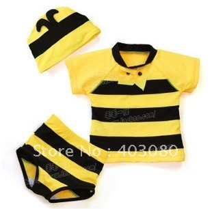 wholesales & retail 2-6 age Yellow Big bee modelling boy's Prevent bask in  beach shorts