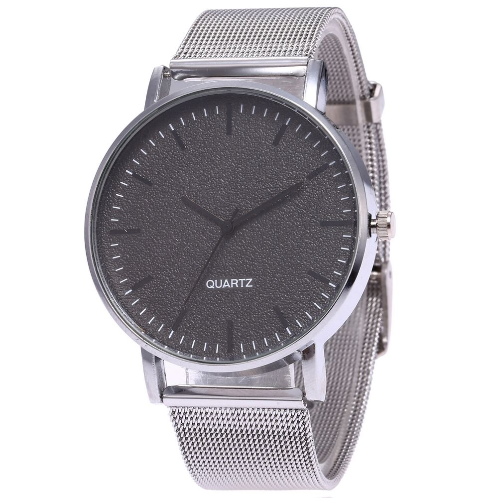 2020 New Fashion Unisex Women Ladies Silver Stainless Steel Mesh Band Silver Wrist Watches Men Watch Couple Relogio Masculino