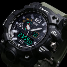 Men Military Watch 50m Waterproof Wristwatch LED Quartz Clock Sport Watch