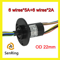 6 Wires 5A 6 Wires Signal 2A Of Capsule Slip Ring OD 22mm