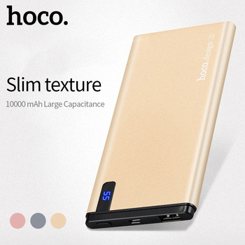 HOCO 10000 mah Universele Power Bank USB Ultra Slanke 10mm Li-Polymeer Snel Opladen Mobiele Draagbare Batterij Oplader digitale Display