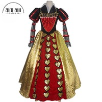 Custom Made High Quality Alice In Wonderland Cosplay Costume The Red Queen Costume Dress Free Shipping