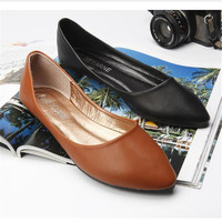 2016 Spring And Autumn Women Shoes Genuine Leather Flat Heel Casual Slip On Pointed Toe Shoes