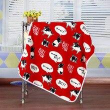 Cute pitbull Winter Warm fleece dog pet cat Blanket for small big dog soft dog Bed house mat cushion car cover 100*70CM