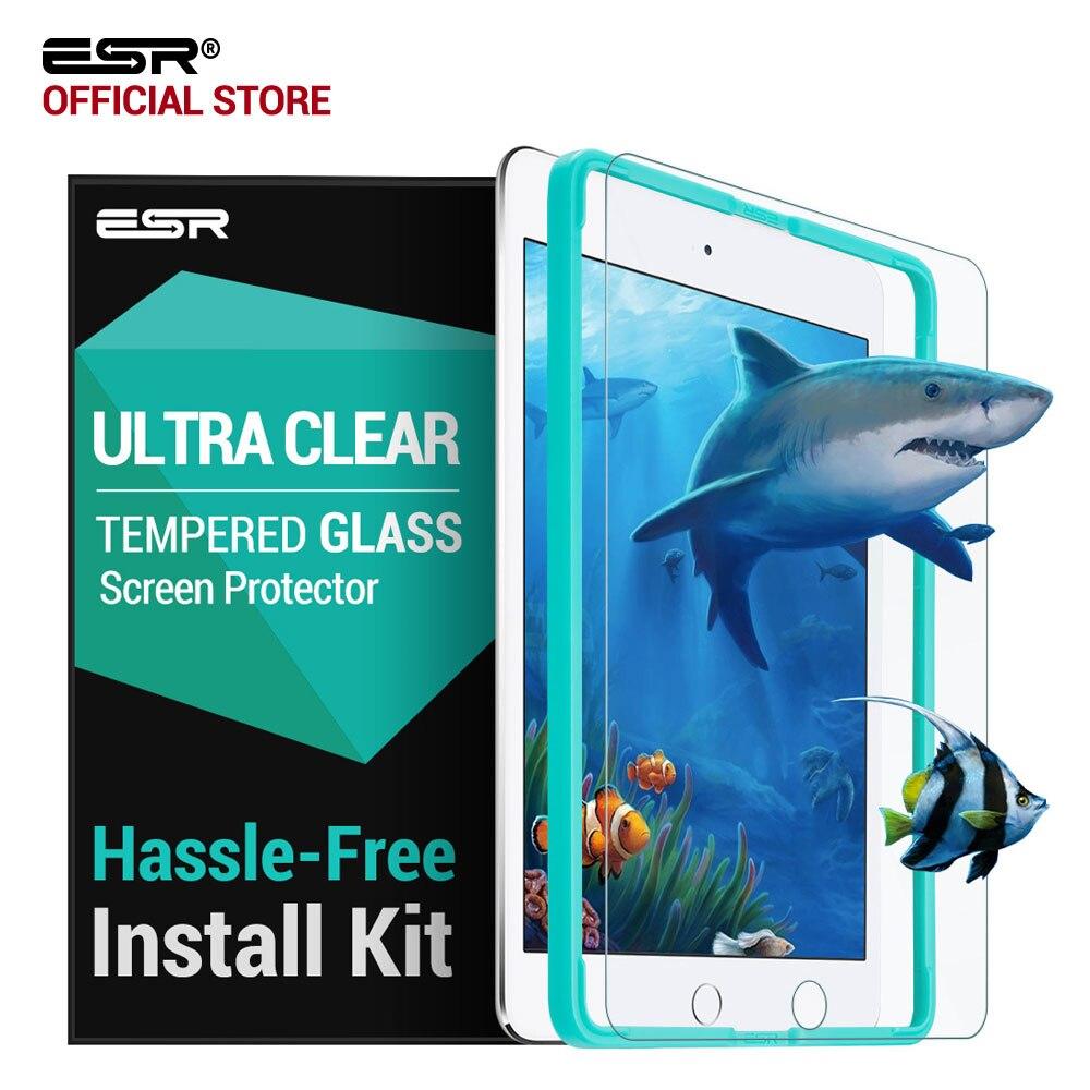 Protector de pantalla para el iPad 9,7 2017, ESR aplicador libre película de vidrio templado para iPad 2018 nueva versión/para el iPad favorable 9,7 pulgadas Air2