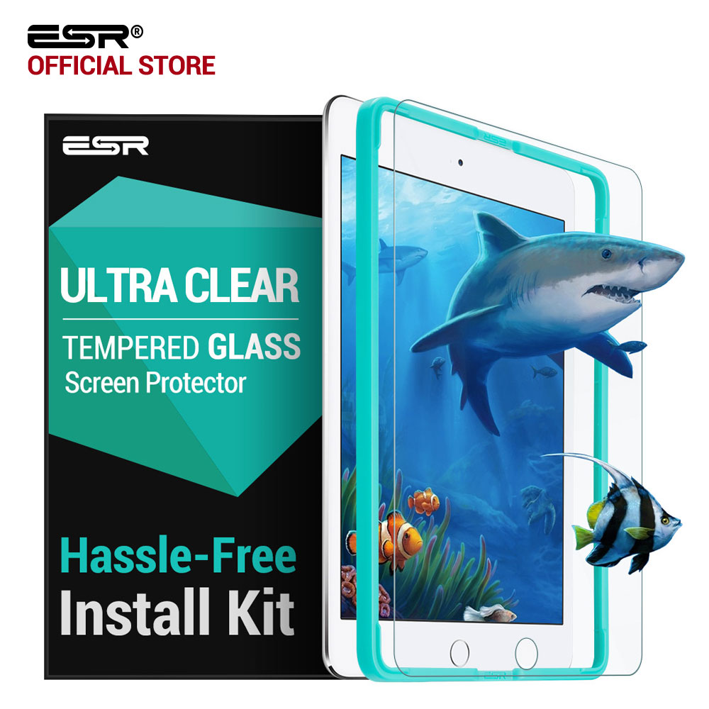 Skærmbeskytter til iPad 9.7 2017, ESR Free Applicator Tempered Glass Film til iPad 2018 Ny udgivelse / For iPad Pro 9,7 tommer Air2