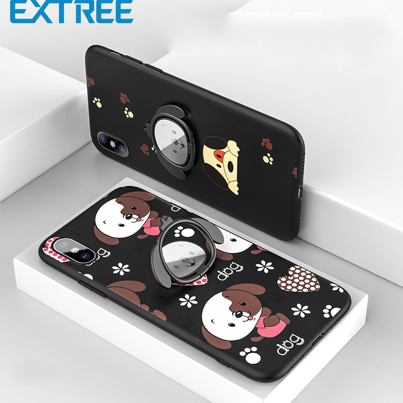 EXTREE Case for iPhone7plus Silicone Painted Car Holder iPhone X Rotary Ring Magnetic Phone Case