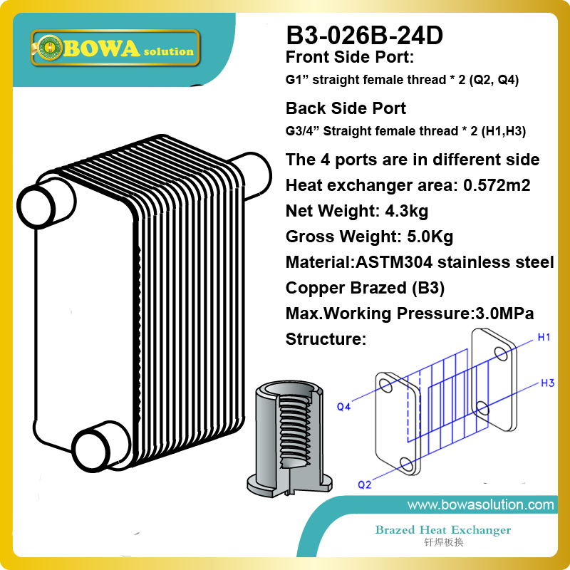 B3-026-24 brazed stainless steel plate heat exchanger for heating equipments such as steam water heater/heat pump heater
