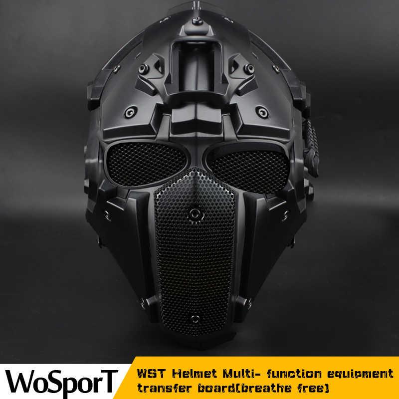 WoSporT 呼吸送料戦術ヘルメットサイクリングマスクプラス狩猟アクセサリーペイントボールスポーツエアガンヘルメット黒曜石グリーン GOBL