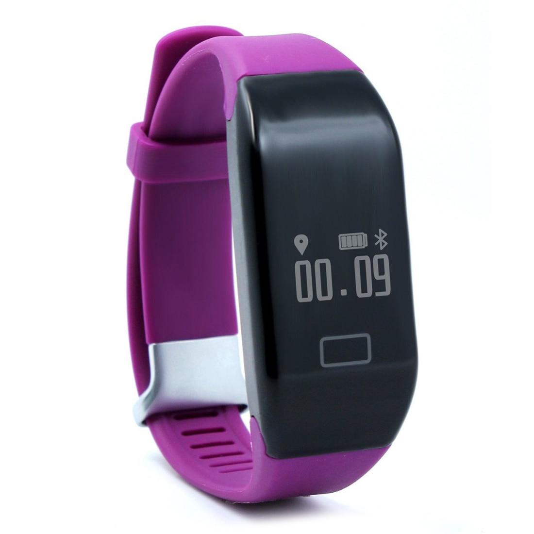 H3 Bluetooth 4.0 IP67 waterproof OLED Display smart watch wristband Heart rate pedometer(purple)