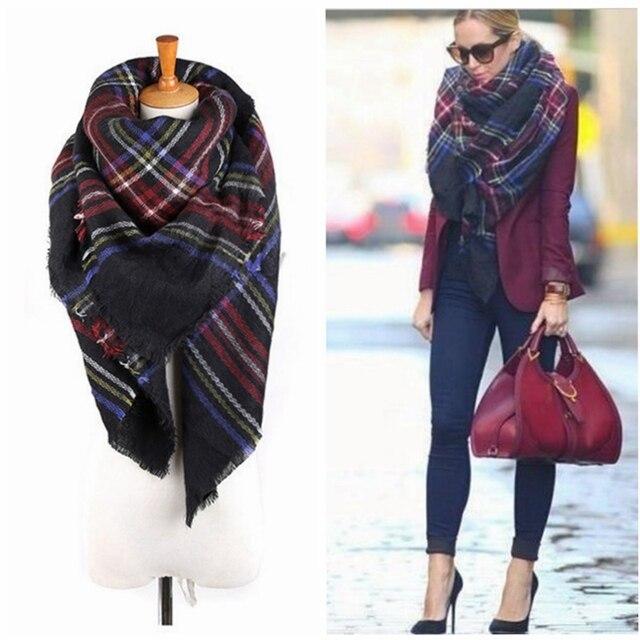bf8bb67ef236a 140*140cm Unisex Women Men Warm Blanket Large Oversized Tartan Scarf Wrap  Shawl Bufandas Plaid Cozy Checked Pashmina Scarves