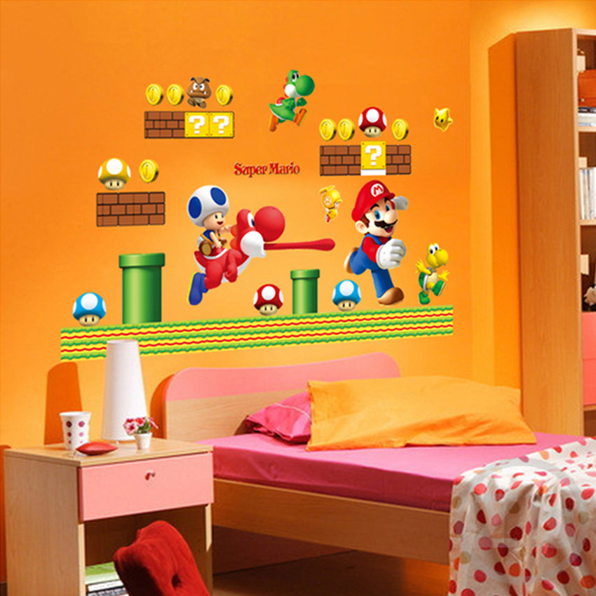 Zs Sticker Mario Wall Kleebised videomäng Home Decor Cartoon Wall Decal poiste jaoks Room Decal Baby Vinyl Mural