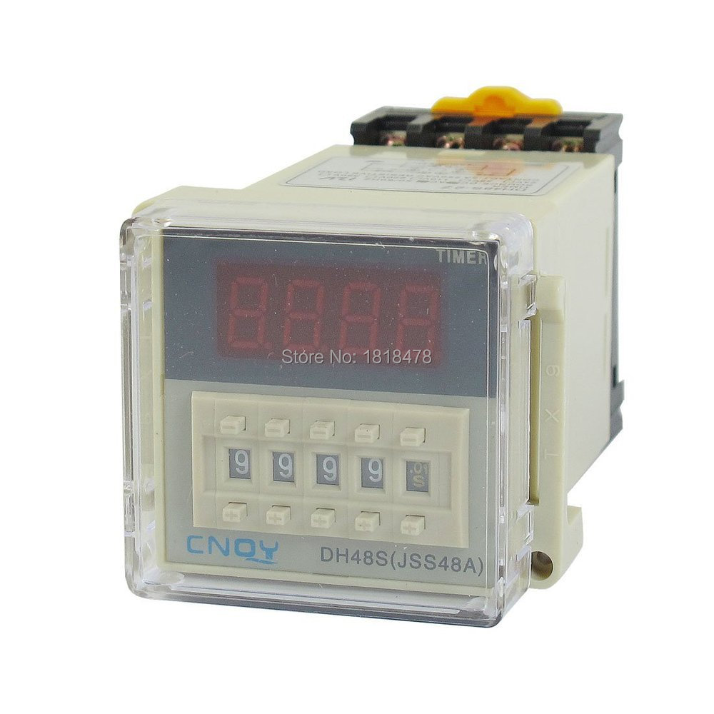 DH48S-2Z  LCD Display Digital Time Timing Delay Relay 0.01S-9999H AC/DC12V w Base dc 12v led display digital delay timer control switch module plc automation new