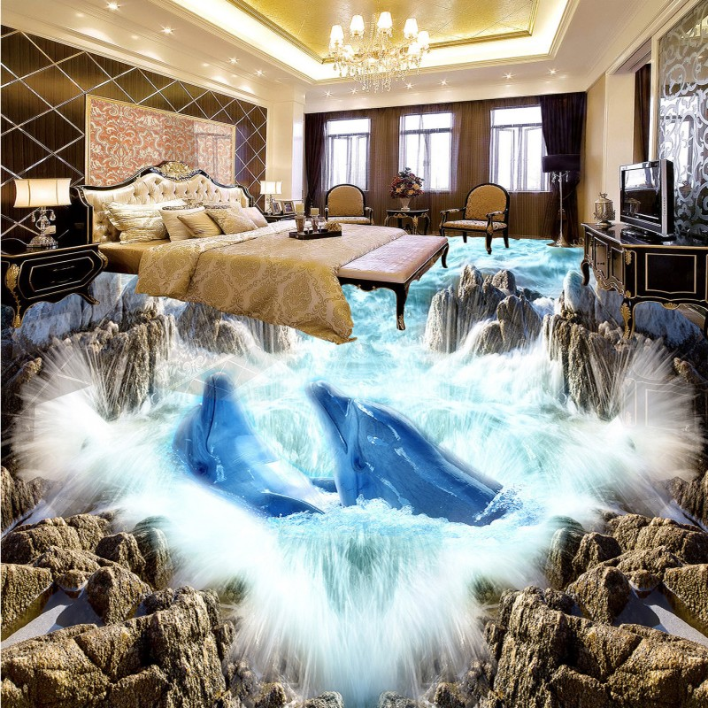 Free Shipping 3D photo Stereo Sea World Dolphin Park Floor painting nursery non-slip kindergarten floor mural wallpaper free shipping penguin dolphin 3d sea world flooring painting kitchen lobby restaurant floor wallpaper mural