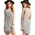 2016 verano vestidos de partido backless dress espalda abierta mujeres gris sólido atractivo sin mangas delgado dress beach dress vestidos túnica