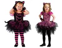 Children Dress Christmas Halloween Costumes Catwoman Costume Cosplay Dress Clothes With Headwear