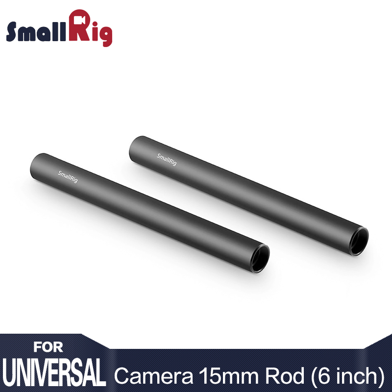 SmallRig 15mm Aluminum Alloy Camera Rail Rod System with M12 Female / Inner Thread 15cm 6 Inch Long - 1050 (Pack of 2)