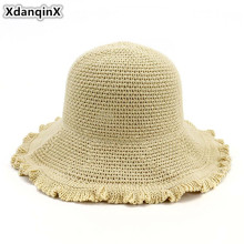 XdanqinX Foldable Adult Womens Sun Hats 2019 New Summer Breathable Beach Hat For Women Elegant Fashion Ladys Bucket Cap