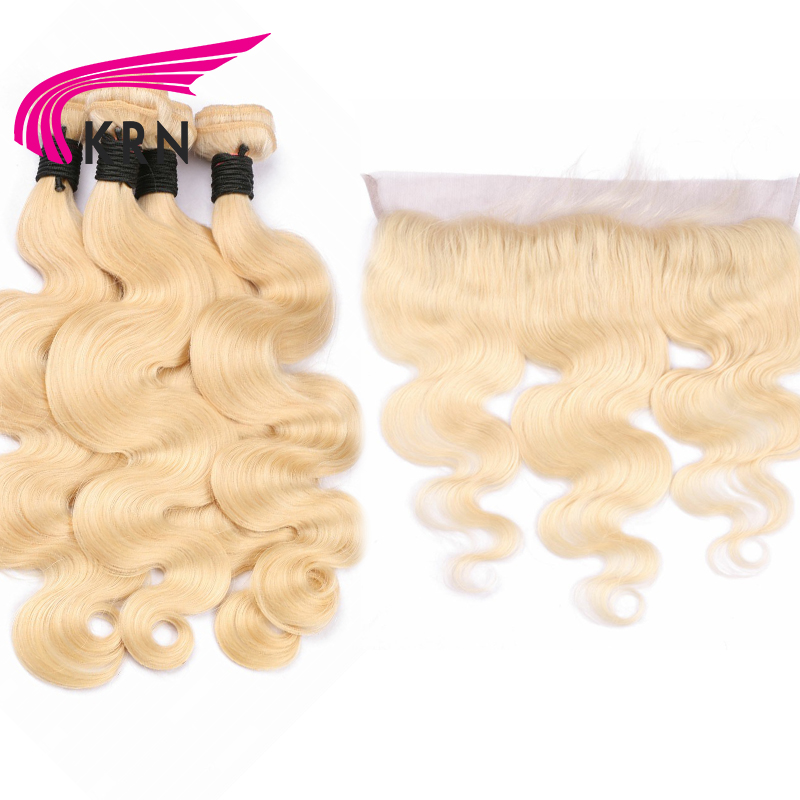 KRN 613 Body Wave Remy Hair Wefts 4 Bundles With 13*4 Ear To Ear Lace Frontal Closure Hair Brazilian Human Hair Extensions
