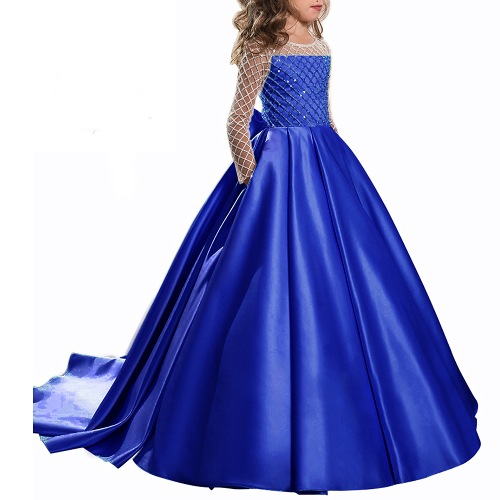 Long Girls Dresses Ball Gown Kids Prom Dress Tulle Flower Girls Dresses Satin Sleeve Mother Daughter Dresses for Girl new red champagne flower girl dresses long sleeves lace satin mother daughter dresses for children christmas party prom gown