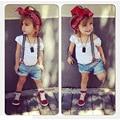 2016 Summer Children Girls Clothing Set White T-shirt + Denim Shorts + Belt 3pcs Baby Girls clothes Sets 1-6 Years Kids Suit