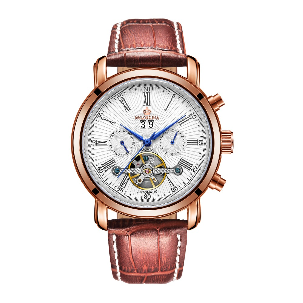 MG.ORKINA Full Calendar Tourbillon Auto Mechanical Mens Watches Top Brand Luxury Wrist Watch erkek kol saati Montre Homme sewor full calendar tourbillon auto mechanical mens watches top brand luxury wrist watch erkek kol saati montre homme