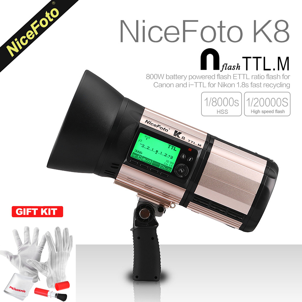 NiceFoto K8 800Ws GN103 TTL HSS 1/8000S 2.4G Wireless Battery Powered Flash 1.8s Fast Recycling for Canon Nikon DSLR Cameras canon ws 1410t