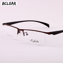 BCLEAR Brand Design Titanium Alloy Eyeglass Male Myopia Glasses Spectacle Frames 2018 Men Fashion Semi-rimless Big Optical Frame