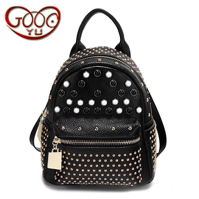 European and American style new leather backpack women's vertical square mini mini backpack fashion rivet цена 2017