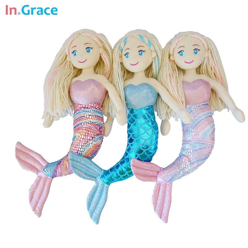 varumärke plysch sjöjungfru dockor med böjda svans leksaker för tjej super vacker liten sjöjungfru 10colors 18inch baby docka bröllop dockor