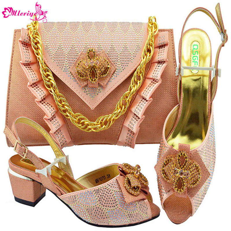New Arrival Ladies Sandals with Heels Slip on Shoes for Women Nigerian Women Wedding Shoe and Bag Set Decorated with Rhinestone elegant rhinestone bird decorated bracelet with ring for women