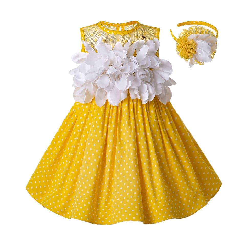 Pettigirl Newest Girls Easter Dress Summer White Flower Dot Sleeveless Yellow Cotton Kids Dress With Headwear