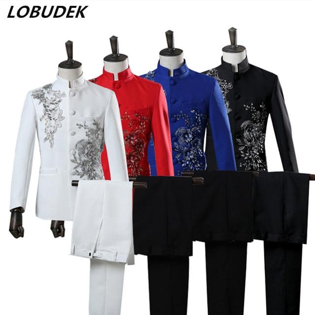 Adult Men Suit Red Blue White Black Applique Sequins Blazers Pants Set  Formal Outfit Choral Dress d57e5ef880b3