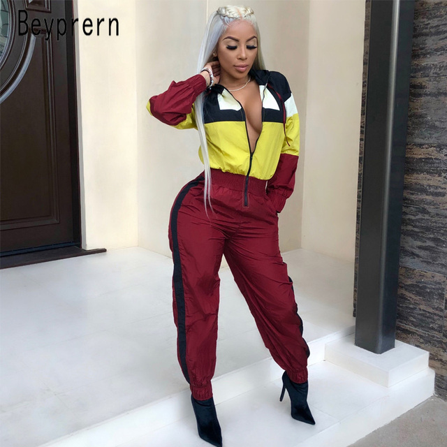 578e48bf6079 Beyprern Casual Multicolor Patchwork Hooded One-Piece Jumpsuit Women Sexy  Zipper Front Long Sleeve Club Rompers Sporty Outfits