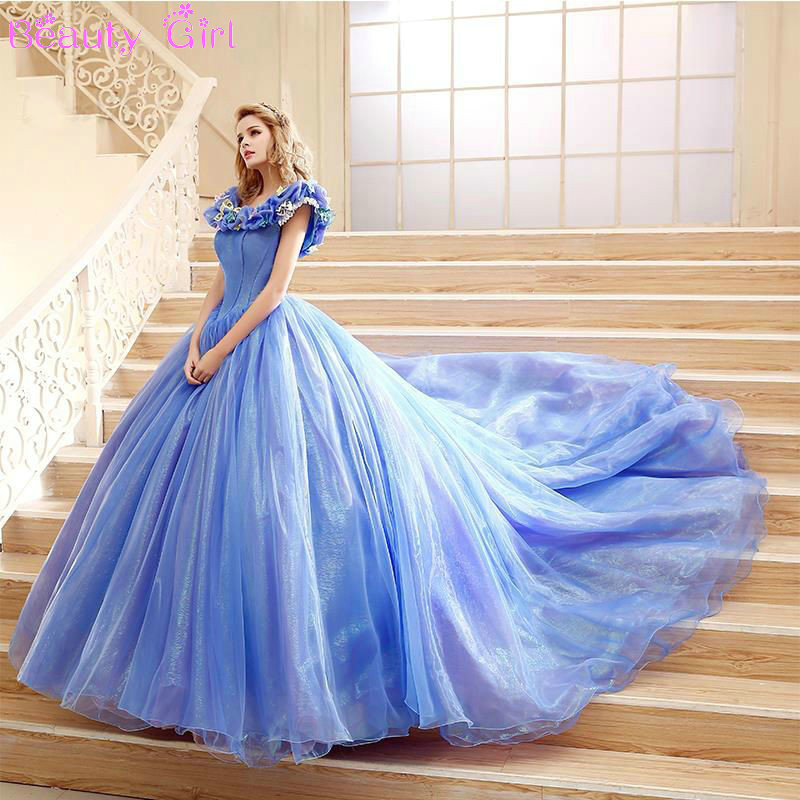 2017 New Scoop Ball Gown Organza Blue Quinceanera Dresses Coming Of Age Ceremony Long Tail In From Weddings Events On