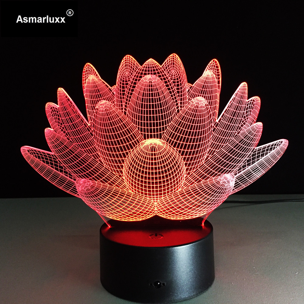 Lotus Flower 3D LED Night Light Novelty Bulbing USB Touch Switch Table Lamp Luminaria De Mesa 3D Vision Illusion AW-018