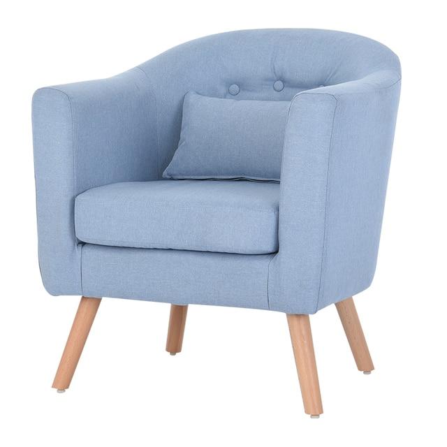 Armchair Linen Upholstery and Wooden Legs 4