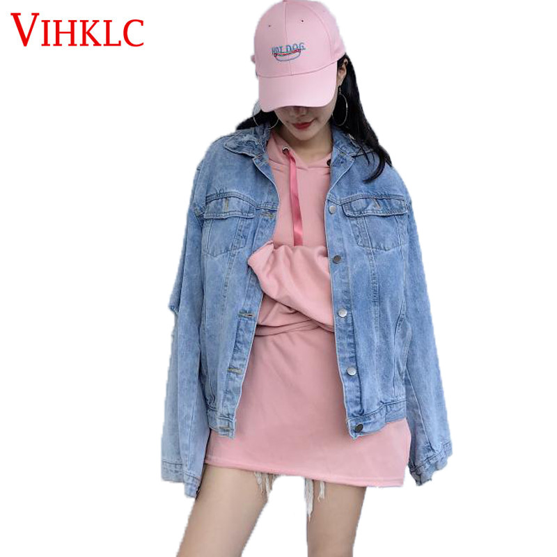 Retro Hong Kong Flavor Hole Loose Spring Autumn Women Jacket 2018 Personality Wild Hair Fringed Tassels Long-sleeved Denim X41