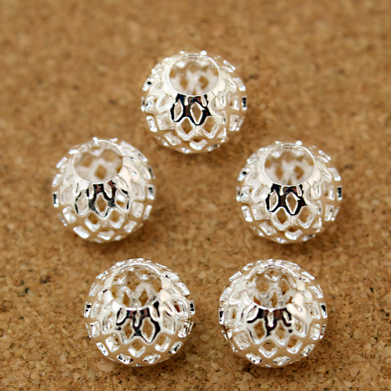 12 pcs Sterling Silver 10mm Mesh Net Ball Beads HOLLOW
